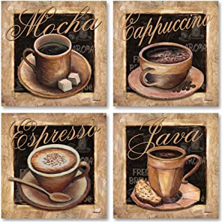 Gango Home Decor Lovely, Classic Coffee Cups; Mocha, Cappacino, Espresso, and Java Signs; Four 12 x 12 Poster Prints