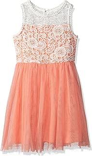 Girls' Big Sleeveless Crochet and Tulle Dress