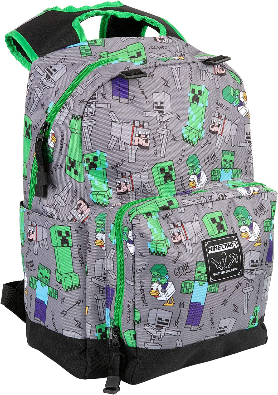 JINX Minecraft Overworld All Over Kids School Backpack, Gray, 17