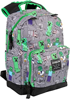 Minecraft Overworld - Mochila de 17 pulgadas, color gris