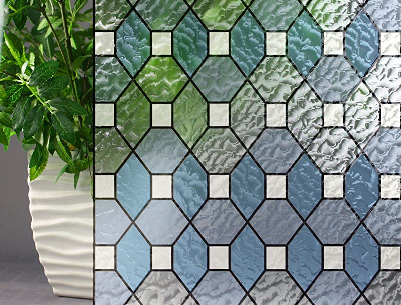 Leaded Glass Decorative Colored Privacy Static Cling Window Film 35 X 7ft Blue