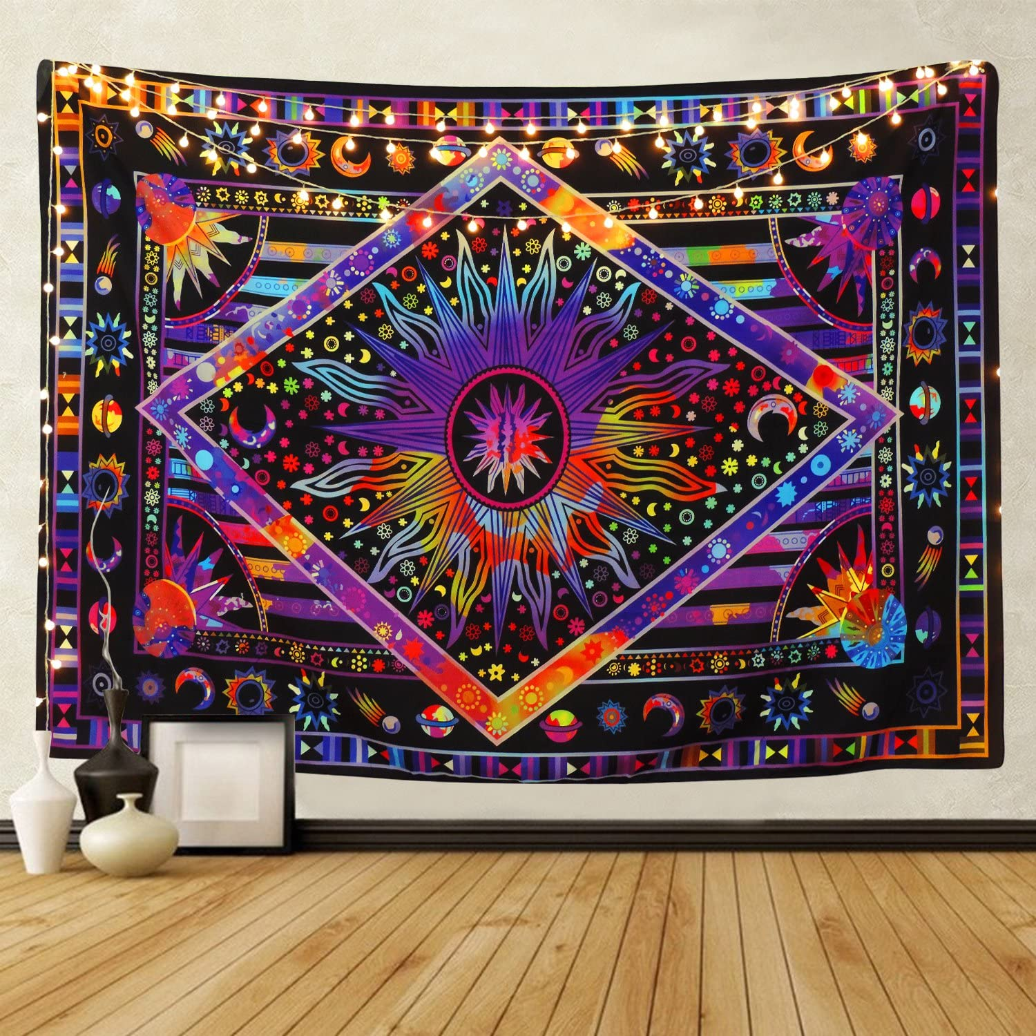 Tie Dye Purple Burning Sun Tapestry Mo supreme Max 89% OFF Celestial Psychedelic