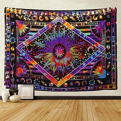 Bateruni Tapiz de pared psicodélico, diseño de luna, sol, bohemio, cuerpo misterioso, decoración de pared para dormitorio o sala de estar, 235 x 180 cm