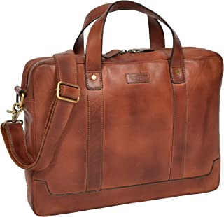 Real Leather Slim Briefcase Vintage Cross Body Bag Organiser Satchel Clarke Tan