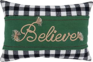 """Saro Lifestyle Merry Martinique Collection Buffalo Plaid Believe Pillow Cover, 12"""" x 18"""", Green"""