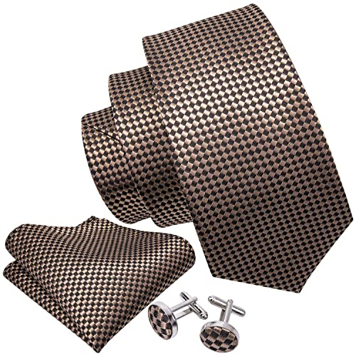 0b8c27506653 Wang Mens Ties Novelty Silk Tie Hanky Cufflinks Set Woven Designer