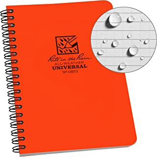 "Rite in the Rain Weatherproof Side-Spiral Notebook, 4 5/8"" x 7"", Orange Cover, Universal Pattern (No. OR73)"