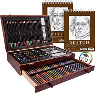 "U.S. Art Supply 143 Piece-Mega Wood Box Art, Painting & Drawing Set with Color Mixing Wheel and Bonus 2-9""x12"" Drawing Ske..."