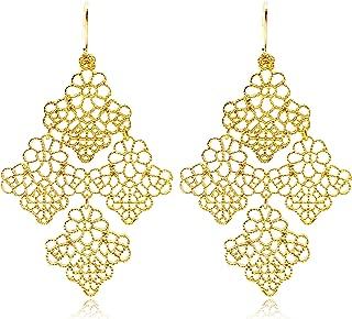 Gold Dangle Statement Earrings for Women Boho Hollow Lace Flower Pattern Metal Dangle Drop Earring
