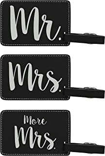 Luggage Tags for Couples Mr & Mrs & More Mrs Matching Couples Luggage Tags Couples Gifts for Newlyweds Anniversary Gifts 3-pack Laser Engraved Leather Luggage Tags Black