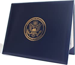 U.S. Citizenship and Naturalization certificate padded holder with cover. Gold American Eagle logo 'Certificate of Citizenship', 'United States of America'. Illustrated inside with the 14th Amendment