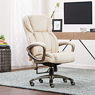 Serta Works Executive Office Chair, Bonded Leather, Beige (Renewed)