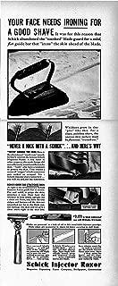 1938 Schick Injector Razor-Your Face Needs Ironing-Original 13.5 * 5.5 Magazine Ad