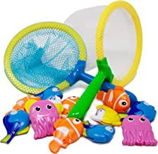 Boley 14 Piece Sinking Dive and Grab Set - Includes 2 Nets and Assorted Sea Animals - Sinking Fish and Net Toy Playset for Kids, Children, Toddlers - Perfect for Bath Time and Summer Fun!