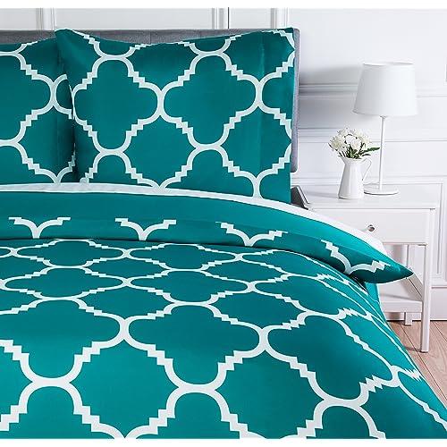 AmazonBasics Parure de lit avec housse de couette en microfibre, 260 x 240 cm, Bleu sarcelle (Teal Trellis)