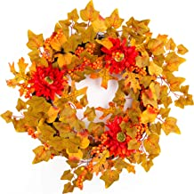 Jusdreen 20 Inch Autumn Artificial Maple Leaf Front Door Wreath Home Décor for Window Wall Sunflowers Leaf Pumpkins and Berries