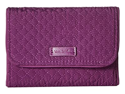 Vera Bradley Iconic RFID Riley Compact Wallet (Gloxinia Purple) Wallet Handbags