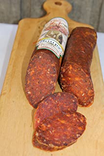 Fortuna's SOUPY Salami 10 Ounce Calabria Style Dry Salami Stick Hand Made, spicy Hot traditionally cured Salami Sausage, Nitrate Free and Gluten Free