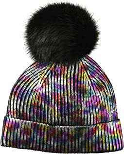 Beanie with Multi Oil Slick and Faux Fur Pom