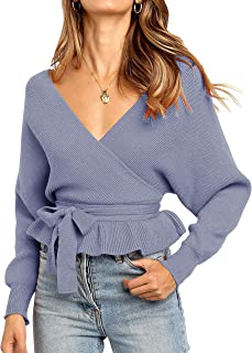 ZESICA Women's Wrap V Neck Long Batwing Sleeve Belted Waist Ruffle Knitted Sweater Pullover Top