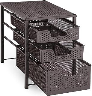 ساده ترندینگ 3 لایه زیر سینک کابینت برگزار کننده با کشو نگهدارنده کشویی ، سازمان رومیزی دفتر سرویس بهداشتی آشپزخانه ، Stackbale ، برنز