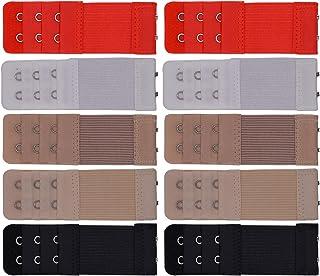 Beige 6 Pezzi 3 File x 3 Ganci, 3 File x 4 Ganci Bianco yeemeen Estensore Reggiseno Estensioni Elastiche per Reggisenoa Prolunghe per Reggiseno Extender 3 Colori Nero