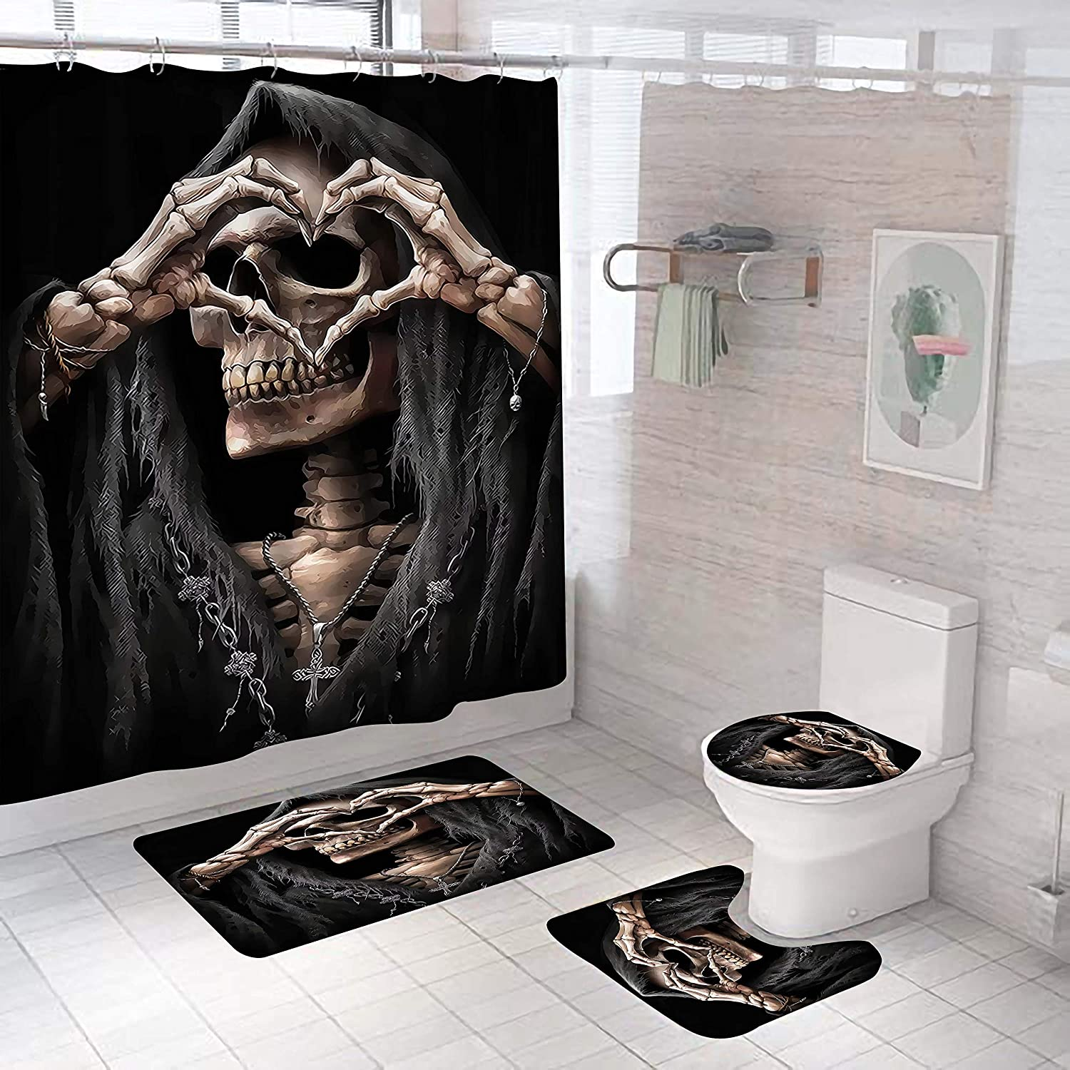 BestFire 4pcs Black Shower Curtain Sets with Non-Slip Bathroom Rugs, Toilet Lid Cover and Bath Mat, Loving Heart Skull Shower Curtains with 12 Hooks for Halloween Bathroom Decor, 71