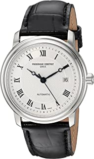 Frederique Constant Men's Classics Stainless Steel Automatic-self-Wind Watch with Leather Calfskin Strap, Black, 22 (Model: FC-303MC4P6