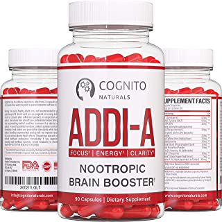 ADDI-A™ Adderall Style Nootropic Brain Booster [90ct] | 100% Natural Nootropics to Boost Focus, Energy & Clarity | #1 Brai...