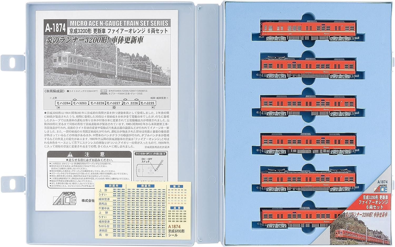 minoristas en línea De calibre calibre calibre N A1874 Keisei 3200 formulario de actualizacion del coche anaranjado del fuego 6-Coche set  caliente