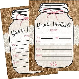 50 Fill In Invitations, Burlap and Lace, Kraft Wedding Invitations, Bridal Shower Invites, Rehearsal Dinner, Dinner Invite...