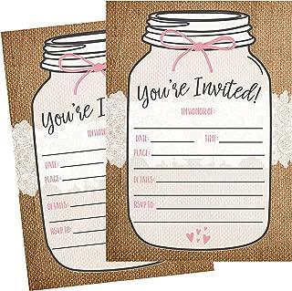 50 Fill In Invitations, Burlap and Lace, Kraft Wedding Invitations, Bridal Shower Invites, Rehearsal Dinner, Dinner Invite, Baby Shower Invites, Bachelorette Party Invitation, Engagement, Graduation