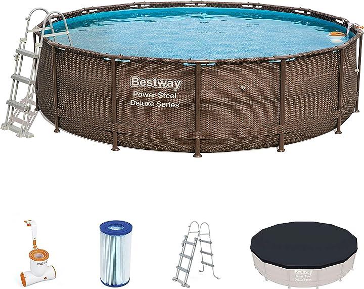 Piscina da giardino bestway 56664 piscina fuori terra piscina con bordi piscina rotonda 13030 l marrone 56664-18