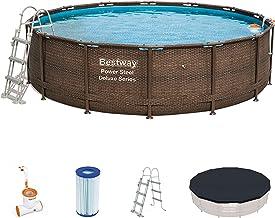 Bestway Power Steel Frame Pool Deluxe Komplettset rund, mit Skimatic Filterpumpe, Leiter, Boden- & Abdeckplane, 427x107 cm, braun