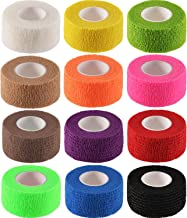 Mudder 12 Pack Wrap Tape Sports Tape Self-Adherent Tape Pressure Wrap Bandage Rolls for Wrist Ankle (12 Colors, 1 Inch x 5 Yards)