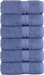 Luxury Premium Turkish Cotton 6-Piece Hand Towels, Long-Stable 20/2, 2 Ply Turkish Ring-Spun Cotton Yarn Makes The Luxe-Factor, Eco-Friendly, (Wedgewood)