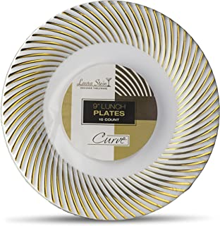[20 Count - 9 Inch Plates] Laura Stein Designer Tableware Premium Heavyweight Plastic White Luncheon Plates With Gold Border, Party & Wedding Plate, Classic Series, Disposable Dishes