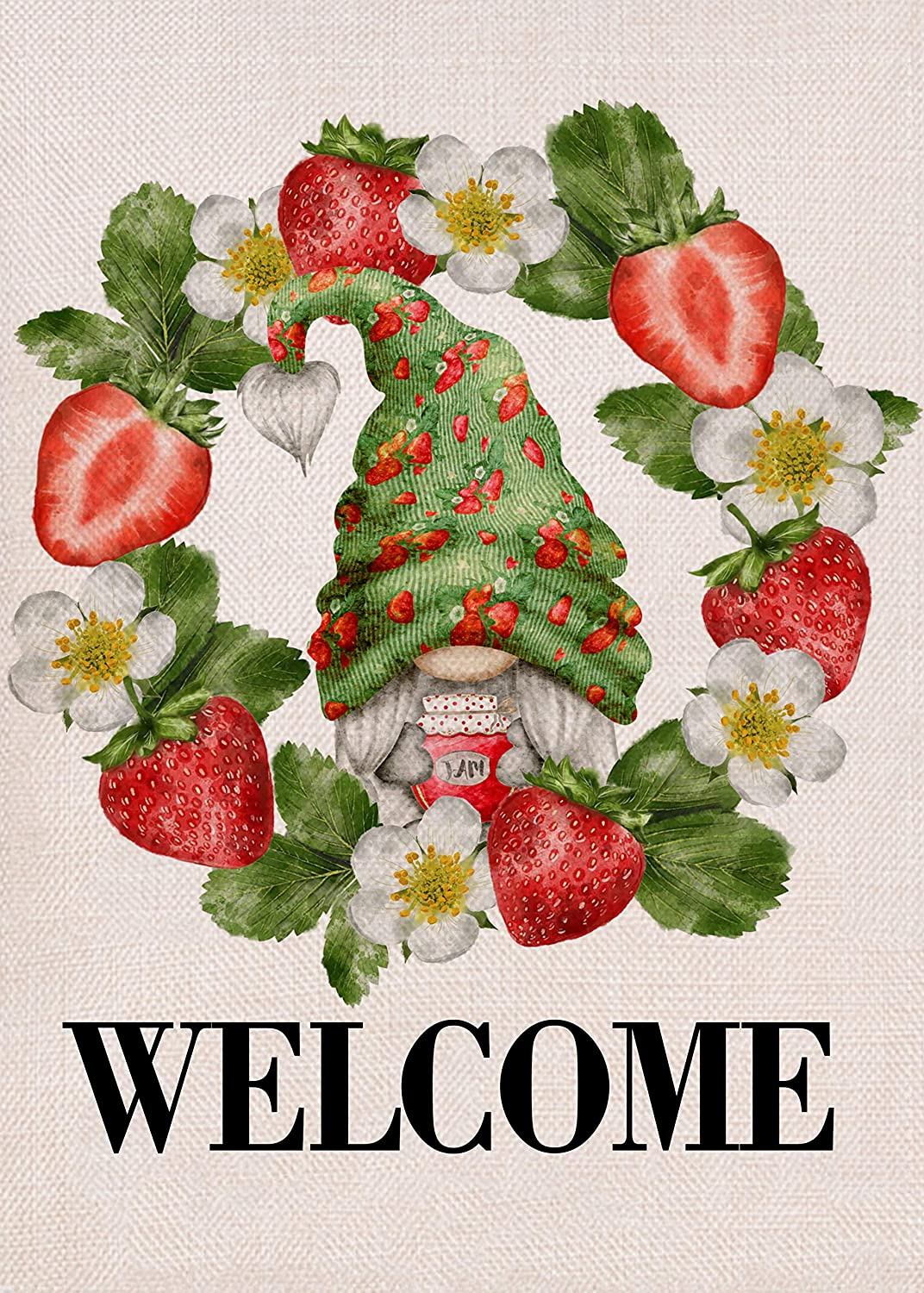 Covido Home Decorative Spring Summer Gnome Garden Flag, Strawberry Wreath House Yard Lawn Welcome Decor Farmhouse Outside Flower Decorations, Seasonal Outdoor Small Burlap Flag Double Sided 12 x 18
