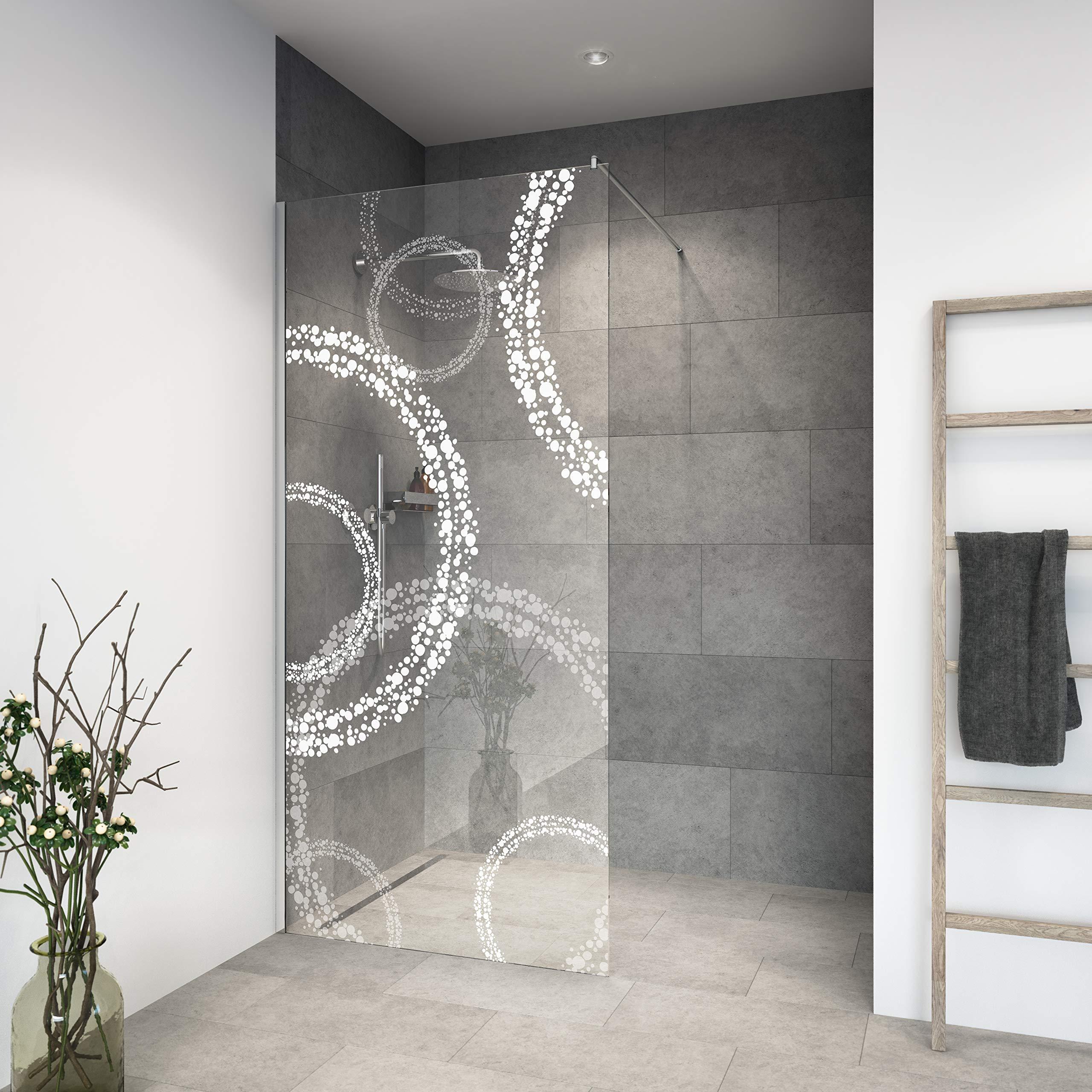 Mampara de ducha de vidrio templado con decoración LaserVision_020, ducha de cristal, grabado láser, varios diseños y dimensiones, incluye perfiles en cromo (alimentación premium)., 1100x2000mm: Amazon.es: Hogar