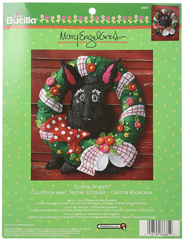 Bucilla Felt Applique Wreath Kit, 16.5 by 14.5-Inch, 86681 Scottie