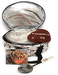 Temp-tations 3 Quart Baker Oval Casserole Dish With Insulated Tote, Plastic Cover, 2 Oven Mitts, Serving Spoon, Recipe Car...