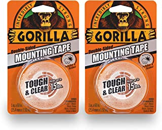 "Gorilla Tough & Clear Double Sided Mounting Tape, 1"" x 60"", Clear, (Pack of 2)"
