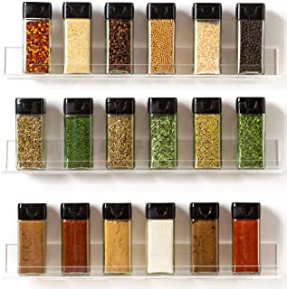 'Invisible' Acrylic Spice Rack Wall Mount Organizer [3 Pack 15
