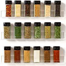 The 'Invisible' Acrylic Spice Rack Organizer: (Pack of 3 Shelves) Wall Mount, Strong, Sturdy & Space-Saving
