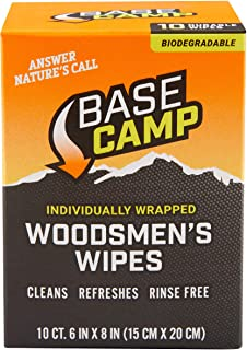 Dead Down Wind Base Camp Biodegradable Woodsmen's Wipes | 10 Individual Packets | All-Purpose Cleansing Wipes, Hunting Acc...