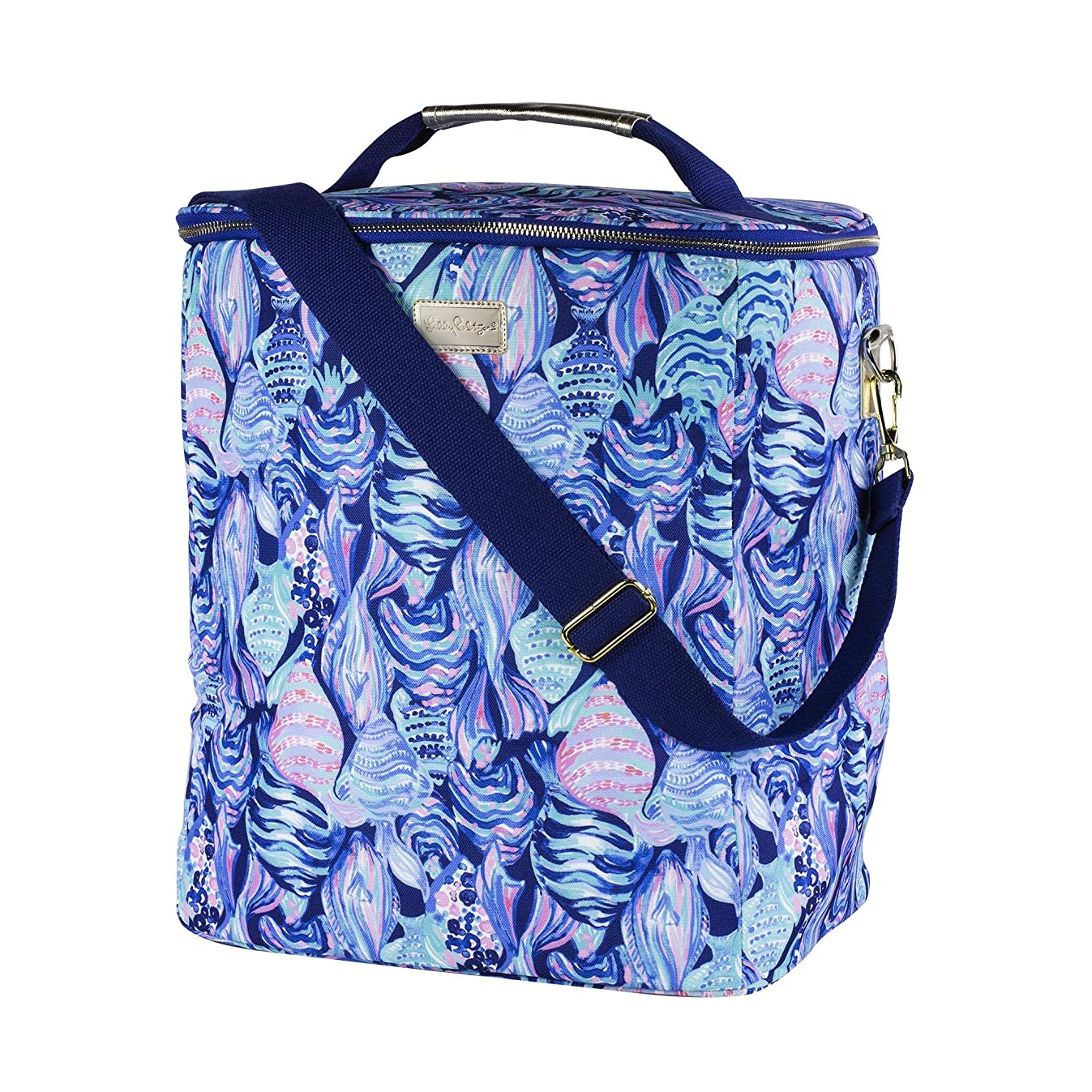 Lilly Pulitzer Insulated Wine Carrier Cooler with Zip Close, Top Handle, and Adjustable Strap (Scale Up)
