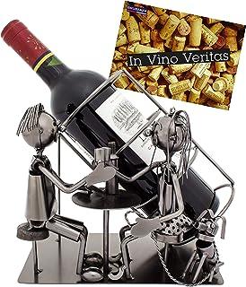 BRUBAKER - Porte-bouteille de vin - Dîner romantique/Couple avec chien - Métal - Carte de vœux incluse - Idée cadeau origi...