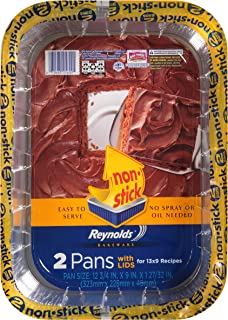 Reynolds Disposable Aluminum Cake Pans With Lids - 13x9 Inch, 2 Count