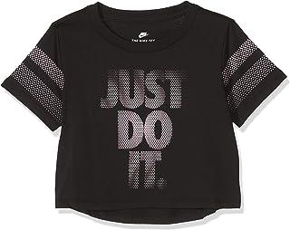 تيشيرت بتصميم مقصوص وعلامة (Just Do It) للبنات من نايك - لون اسود - مقاس XS - 923631-010