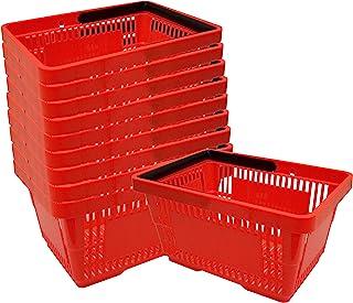 10 Einkaufskörbe aus Kunststoff Plastik mit Henkel 20 Liter 40cm stapelbar rot